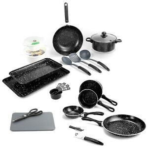 21pc Kitchen Starter Set Black Marble Look Pots Pans Cookware Bakeware Utensils