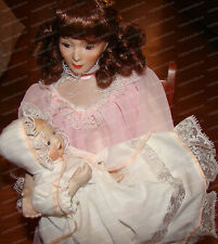 Lullaby, Victorian Porcelain Doll Set (Motherhood 1990 Sandra Kuck) Ashton Drake