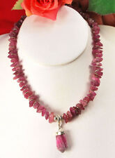 "Timeless!! Natural Pink Tourmaline & Large Pendant Sterling Silver Necklace 18""*"