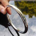 925 Sterling Silver Plain Bracelet Heavy Round Golf Bangle Single Band Gift SP