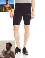 New Saucony Inferno Mens Half Tight Compression Running Shorts Black SA81081
