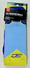 Under Armour Basketball SC Men's Crew Socks Large 9-12.5 Blue Yellow heatgear