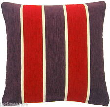 "SUPERB MODERN FUNKY RED PURPLE CREAM STRIPE CHENILLE 17"" THICK CUSHION COVER"