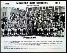 Cfl 58 Winnipeg Blue Bombers Grey Cup Champs Black White 8 X 10 Photo Free Ship