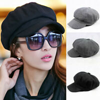 Women Solid Color Woolen Gatsby Newsboy Hat Peaked Flat Cabbie Driver Cap Baker