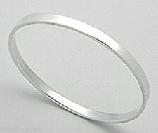 5mm Thick Flat Bangle Bracelet Shiny 7g Solid Sterling Silver