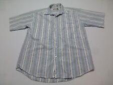 Levis Mens Size M Blue & Grey Striped Button Front Shirt Good Condition