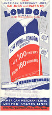 Vintage 1934 American Merchant Lines/United States Lines Rates & Dates To London