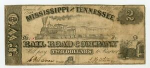 1862 $2 The Mississippi and Tennessee Rail Road Co. - MISSISSIPPI Note w/ TRAIN