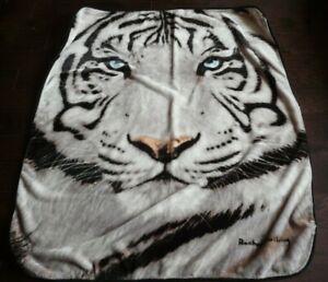 """Tiger Blanket Fleece Throw - Rachel Stribbling - Northwest 58"""" x 50"""" White Black"""