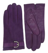 COACH Womans Amethyst Purple Suede Leather Cashmere Lined Gloves 6.5 F83720