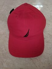 NAUTICA MEN'S DECK RED  WITH NAVY LOGO BALL CAP HAT OSFA MSRP $25 NWT