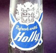 vintage ACL Soda POP Bottle: blue label HOLLY of YOUNGSTOWN, OHIO - 7 oz ACL