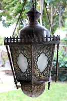 Antique Vintage Large Ornate Brass Bronze Lantern Chandelier 12 lb Hanging Lamp