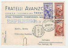 STORIA POSTALE 1954 TRIESTE A L.20+25 SU CARTOLINA EX TRIESTE 11/3 Z/3835