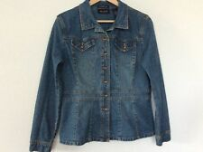 Axcess Liz Claiborne Denim Jean Jacket Womens Size L Blue  Cotton Stretch