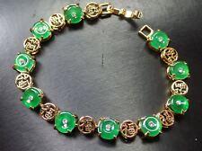 Gold Plate CHINESE Green JADE *Fu* Circle Donut Bangle Bracelet 297547
