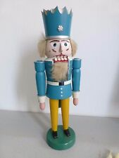 Nußknacker ⭐ König  ⭐ Holz lackiert  blau / gelb ⭐
