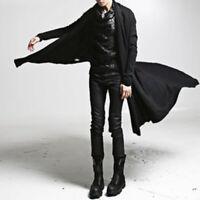 Gothic Mens Punk Cardigan Coat Long Jacket Cape Cloak Poncho Outwear Slim WHH01