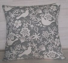 Handmade Cushion Cover - Marsons Dove Grey / Cream - Same Fabric Front and Back