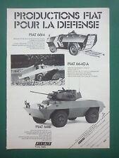 1976 PUB FIAT IVECO BLINDE AMPHIBIE 4X4 FIAT 6614 6616 6640 A FRENCH AD
