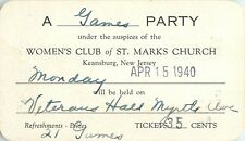 """""""A Games Party"""" Invitation, Women's Club of St Marks Church, Keansburg NJ 1940"""
