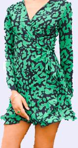 JOHN ZACK GREEN & BLACK  WRAP FRILL DRESS l