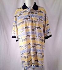 Windham Pointe Polo Shirt Sz LT Ocean Fish Marlin Bonita Dolphin Sea Fishing