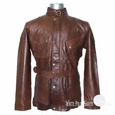 Mens Leather Jacket Vintage Brown Panther Distress Motorbike Benjamin Brad Field