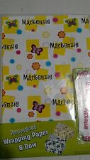 Personalized birthday gift wrap wrapping spring butterflies NIP Mackenzie