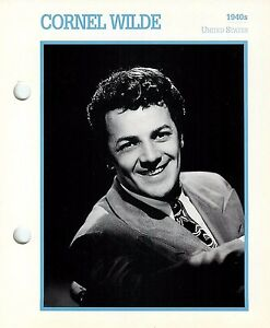 """Cornel Wilde 1940's Actor Movie Star Card Photo Front Biography on Back 6 x 7"""""""