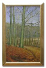 H P AALAND / COUNTRY ROAD THROUGH FOREST - Original Art Oil Painting