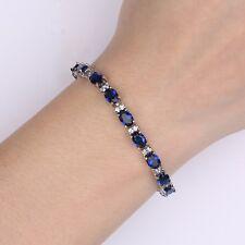 "18K White Gold Filled Oval Shape Blue Sapphire Women's Tennis Bracelet 6.7""12.3g"