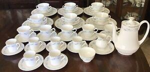 52 Pcs Mayfair Fine China Dinner. Coffee. Tea Set. Floral & Silver Trim.