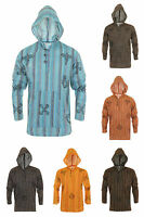 Grandad Shirt With Hoodie 100% Stripe Cotton Kurta Hippy Boho Festival Hippie
