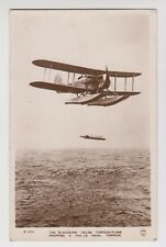 "POSTCARD - the Blackburn ""Velos"" Torpedo-Plane dropping 1500lb naval torpedo, RP"