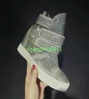 Womens Rhinestone strappy hidden heel high top suede leather Sneakers shoes AU