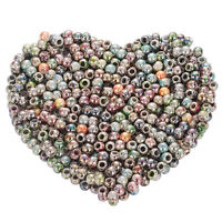 500 Mix Rund Blumen Acryl Spacer Perlen Beads Großlochperlen 8mm Wholesale*