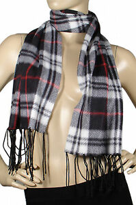 Men Women Solid Color Plaid Animal Print Leopard Wrap Winter Warm Fleece Scarf
