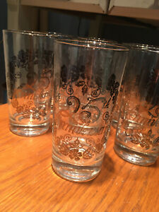 Vtg 25th Wedding Anniversary glassware,7 pcs 25th Anniversary glasses, MINT