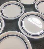 "6 Tienshan Stoneware Country Crock Blue Bands 7 3/4"" Salad Farmhouse Plates TPA"