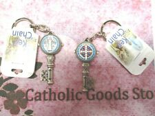 ST. BENEDICT ENAMELED SILVER KEY CHAIN