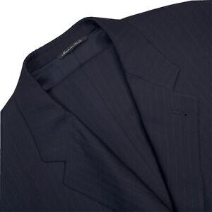 Mens 46 L Canali Proposta 3 B Navy Blue Multi Stripe Super 120's Wool Suit Italy