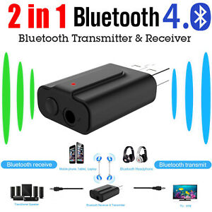 Mini 2In1 TV/Headphone/PC/Home/Car Audio AUX to Bluetooth Wireless Adapter