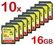 LOT 10 x 16GB = 160GB SanDisk SD Extreme 16 GB SDHC 45MB/s class 10 Memory Card