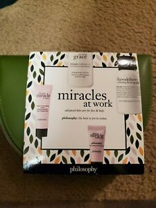 New in Box Philosphy Miracles at work Gift set with cosmetic bag