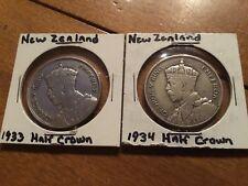 1933 & 1934 New Zealand Silver Half Crown Coins KM#5 Geo V .2273 ASW