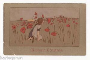 1907 FAULKNER BARHAM EMBOSSED ' A MERRY CHRISTMAS '  POSTCARD