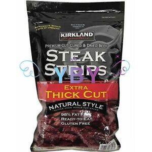 Kirkland Premium Cut Steak Strips Dried Beef Jerky Extra Thick Cut 12 OZ