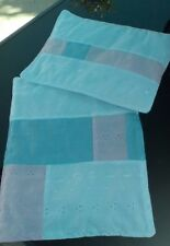 DOLLS PRAM COT BEDDING QUILT SET PATCHWORK WHITE BLUE& PINK BRODERIE ANGLAISE